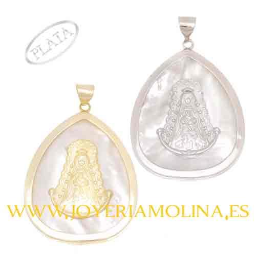Medalla de la Virgen del Rocío en plata forma lagrima.