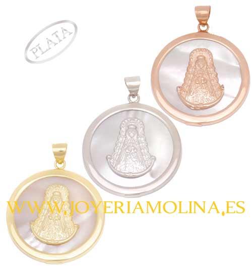 Medalla nácar Virgen del Rocío redonda