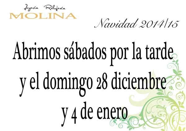 Días de apertura Navidad 2014-15