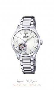 Reloj mujer Festina automatico cadena esfera blanca