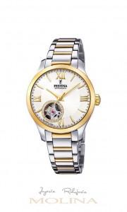 Reloj mujer Festina automático bicolor esfera blanca
