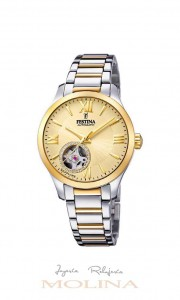 Reloj mujer Festina automático bicolor esfera dorada
