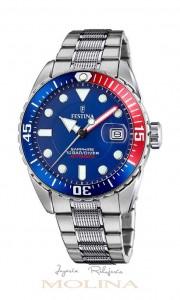 reloj Festina automatico azul rojo