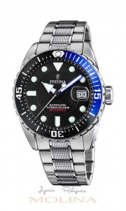 reloj Festina automatico negro azul