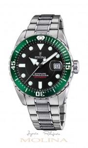 reloj Festina automatico negro verde
