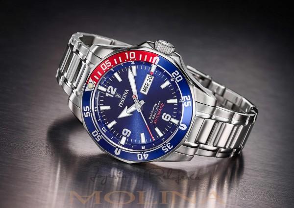 reloj Festina automatico azul y rojo