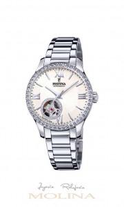 Reloj Festina automatico mujer bisel circonitas esfera blanca