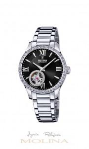 reloj Festina automatico mujer bisel circonitas esfera negra