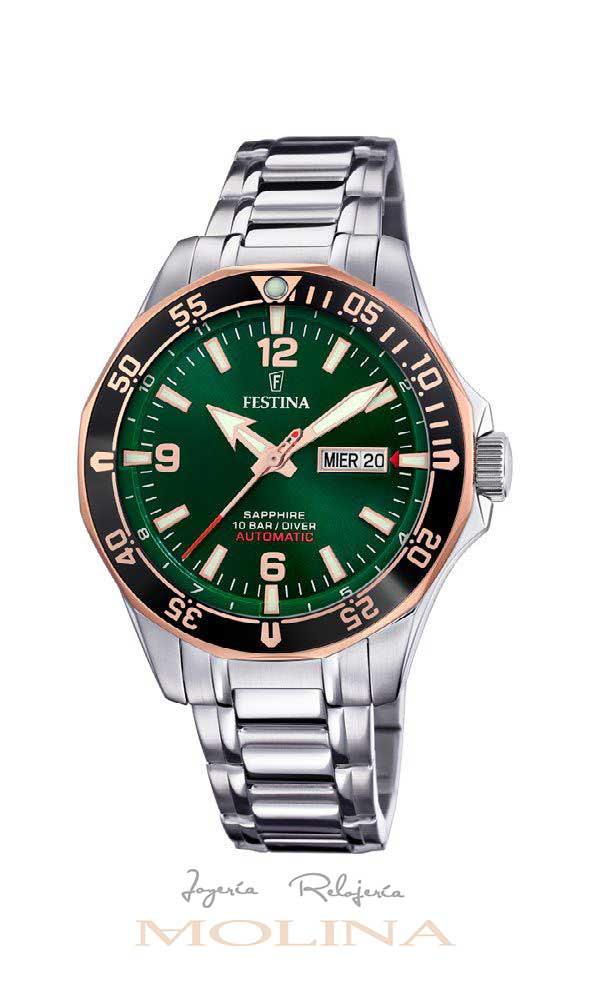 reloj Festina automatico verde diver fecha día